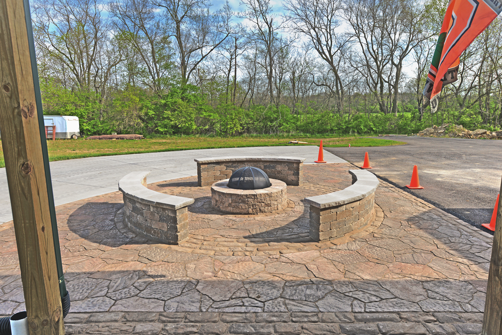 Seatwalls, Fire Pit, & Paver Patio, Waynesville OH « Patio ... on Pavers Patio With Fire Pit id=24173
